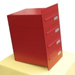 Rear-open SPO-4 postbox with four letter slots (SPO standard)